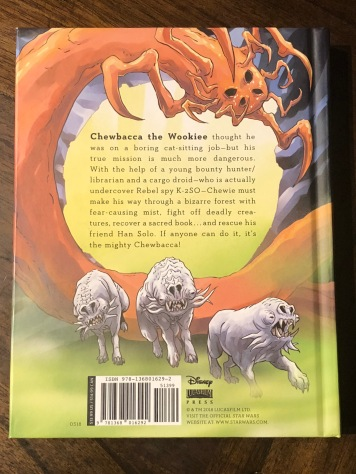 The back cover for The Mighty Chewbacca In The Forest of Fear