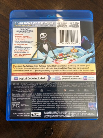 Just some of the features of the Blu-Ray of NIghtmare Before Christmas