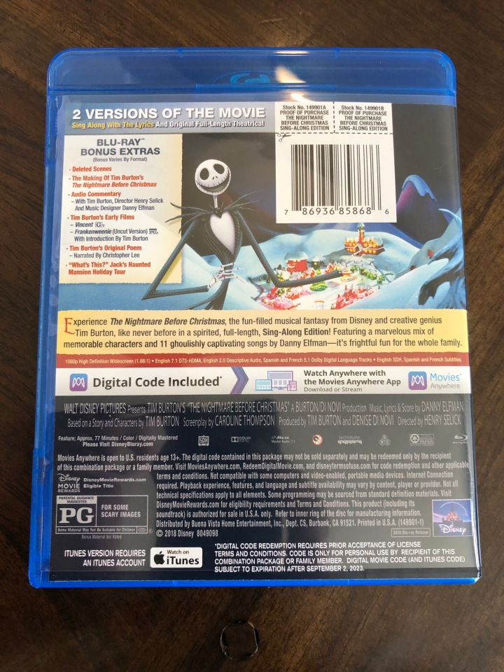 Nightmare Before Christmas In French.Sing A Long To The Nightmare Before Christmas Blu Ray