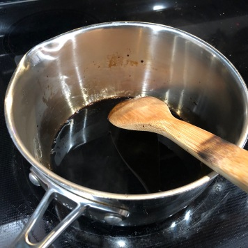 The honey balsamic reduction as it is reducing