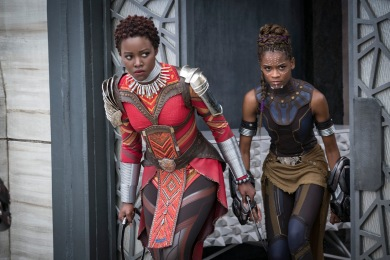 Marvel Studios' BLACK PANTHER..L to R: Nakia (Lupita Nyong'o) and Shuri (Letitia Wright)..Photo: Matt Kennedy..©Marvel Studios 2018