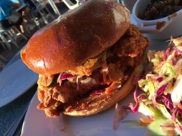 Fried Chicken Sandwich is so full of flavor. A River Belle Terrace delight.
