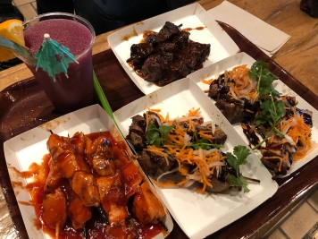 Collection of some of the different skewers at Bengal Barbeque along with the Jungle Julep. Pork Belly is the best.